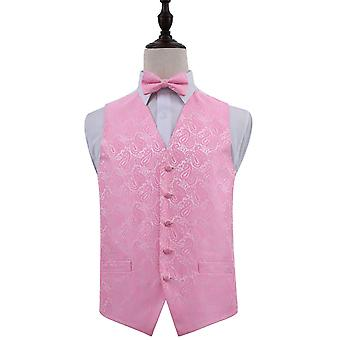 Baby Pink Paisley Patterned Wedding Waistcoat & Bow Tie Set