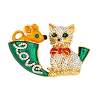 Butler & Wilson Green Crystal Cat Mouse And Horn Brooch