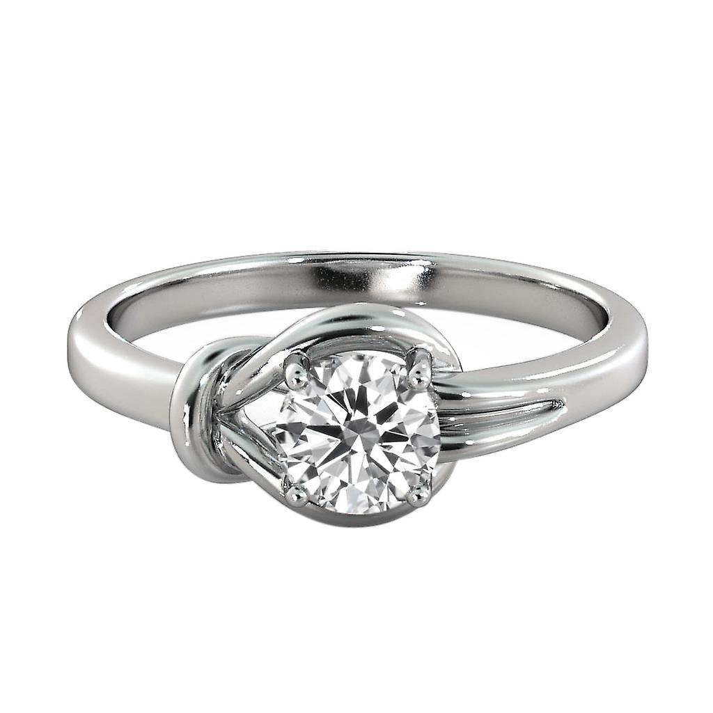 1.2 carat E VS1 Diamond Engagement Ring 14K or blanc Solitaire noeud rond