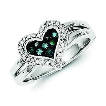 Sterling Silver White and Blue Diamond Heart Ring - Ring Size: 6 to 8
