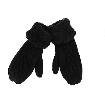 Ladies Super Soft Cosy Fleece Lined Cable Knit Mittens