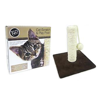 World of Pets Cat Scratch & Play Post with Sisal Rope & Playball