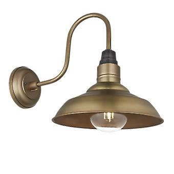 Vintage Round Shaped Barn Swan Neck Retro Wall Sconce Lamp - Brass - 10.5