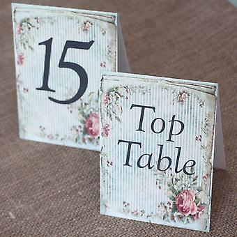 Wedding Table Numbers Vintage Green Floral Stripped - 1 -15 Top Table - Tent Fold