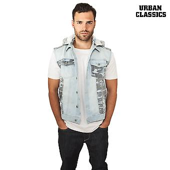 Urban classics vest hooded Camo denim vest