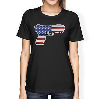 Pistol Shaped American Flag Womens Black T-Shirt For Gun Supporters