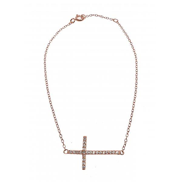 W.A.T Kissika 925 Sterling Sterling Silver Rose Gold Plated Dainty Crystal Cross Bracelet