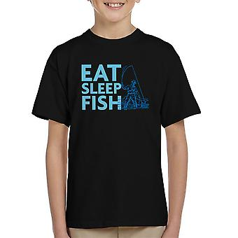 Comer camisetas dormir pescado pescador azul niños