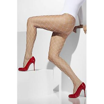 Smiffys Diamond Net Tights White (Trajes)