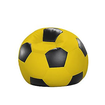 Bean bag cushion soccer yellow black leatherette 80 x 80 x 80 cm