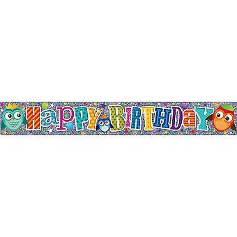 Simon Elvin Flower/Owl Birthday Foil Banner