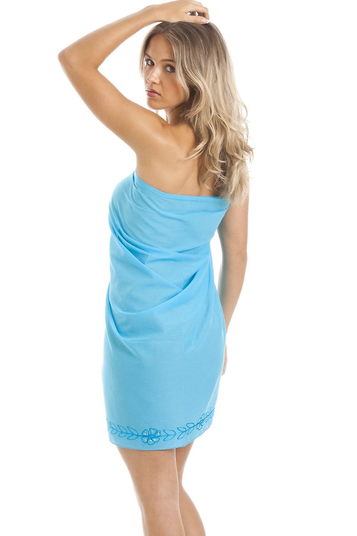 Camille türkis blaue Mitte Länge Sarong mit Blumenstickerei