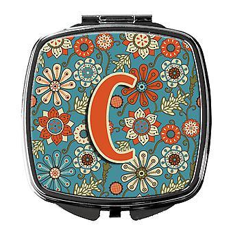 Carolines Treasures  CJ2012-CSCM Letter C Flowers Retro Blue Compact Mirror