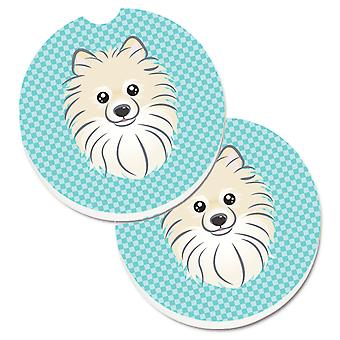 Checkerboard Blue Pomeranian Set of 2 Cup Holder Car Coasters