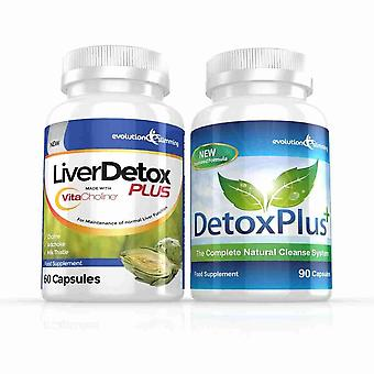 Liver Detox Plus Capsules and DetoxPlus Combo - 1 Month Supply - Liver and Colon Cleanse - Evolution Slimming