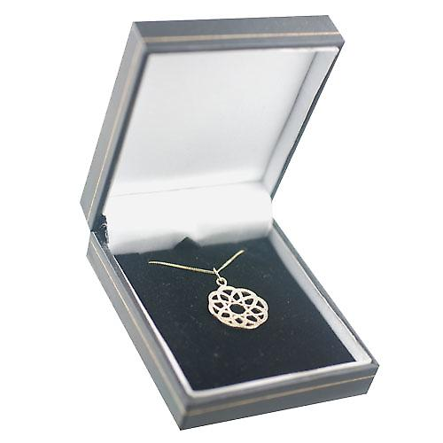 9ct Gold 22mm round Celtic knot design Pendant with a curb Chain 16 inches Only Suitable for Children