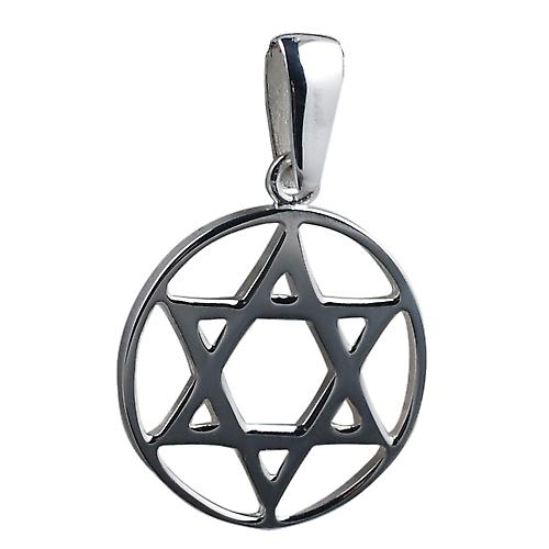 Silver 25mm plain Star of David in circle Pendant
