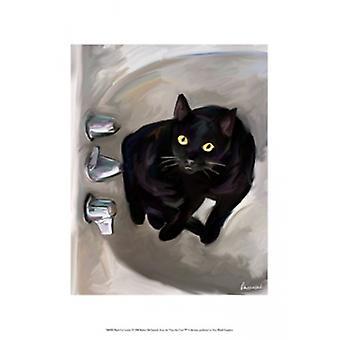 Black Cat Lookin Poster Print by Robert McClintock (13 x 19)