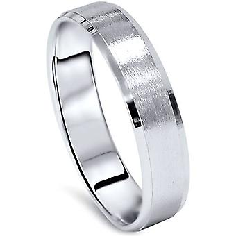 Mens 5mm 10K White Gold Brushed Wedding Band