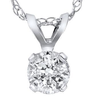2ct solitario diamante colgante IGI certificado 14K oro blanco