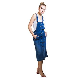 Button front Denim Dungaree Dress Flared Bib Overall Pinafore