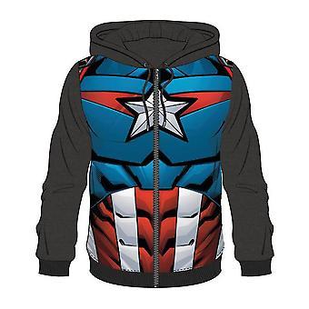 Bioworld Herre Marvel Comics Captain America fuld længde lynlås hættetrøje store