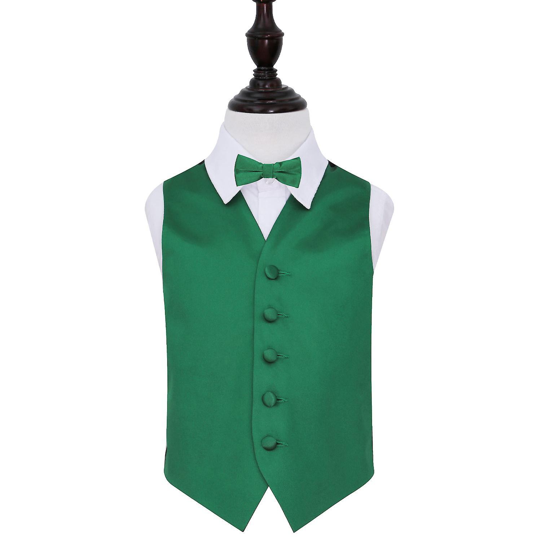 Emerald Green Plain Satin Wedding Waistcoat & Bow Tie Set for Boys