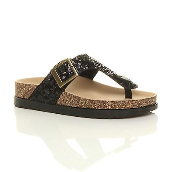 Fracasos de tirón de Ajvani mujeres flatform plana hebilla tiras diapositivas barra brillo deslizadores brillantes sandalias de plataforma