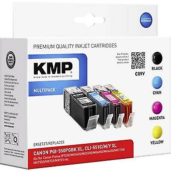 KMP Ink replaced Canon PGI-550PGBK XL, CLI-551 C,M,Y XL Compatible