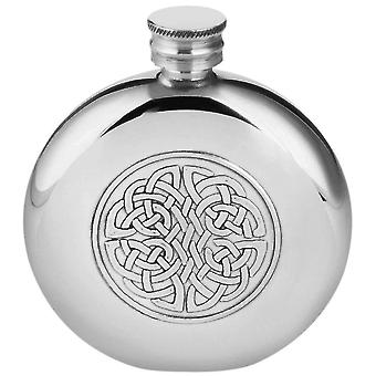Orton West 6oz Celtic Round Pewter Hip Flask - Silver