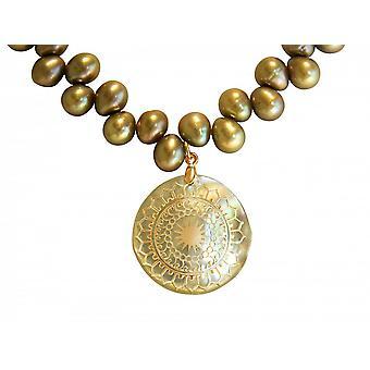 Perlenkette - Anhänger – Medaillon - Perlen – Perlmutt – Vergoldet - Bronze