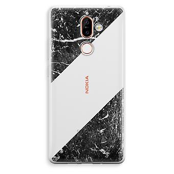 Nokia 7 Plus Transparent Case - Black marble