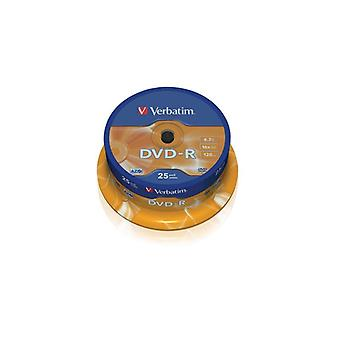 Verbatim DVD-R, 16 x, 4.7 GB/120 min, 25-pack spindle, AZO