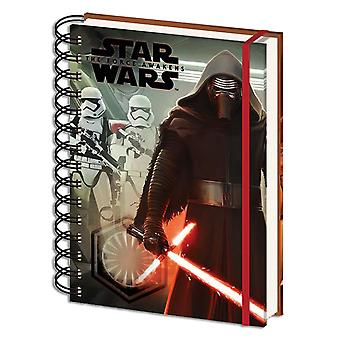 Star Wars Episode 7 notebook Kylo Ren & stormtroopers hardcover with spiral binding, 180 pages lined with elastic, DIN A5.