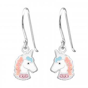 Jentene hvit og rosa unicorn sølv tønnebånd øredobber