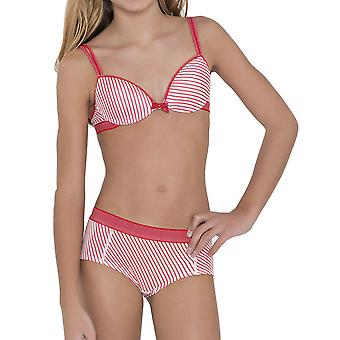 おっぱい・ ブルマ 30.33.0042-341 女の子アニー ストライプ印刷赤い斑点のあるブリーフ