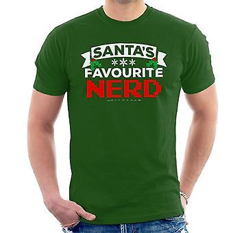 T-shirt uomo Santas Nerd preferito Natale