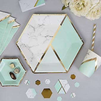 Marble / Mint Paper Party Plates- Hexagonal - 27cm x 8