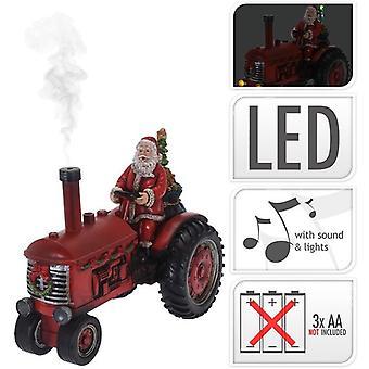 Kerstman Op Tractor met licht 28cm