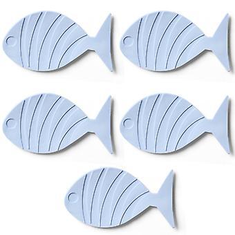 TRIXES 5PC Blue Fish Shaped Bath Mats for Kids  Non Slip Suction Pads