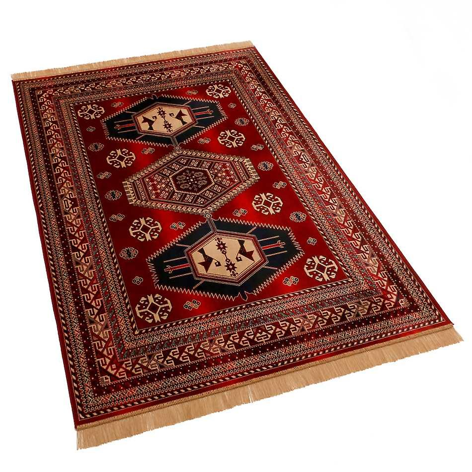 Large Red Afghan Kazak Artsilk Faux Silk Effect Rugs 9379/12 140 x 200cm