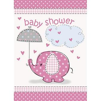 Unique Party Umbrellaphants Baby Shower Pink Invites