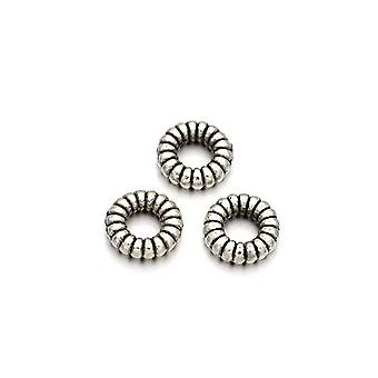 Packet 30 x Antique Silver Tibetan 5mm Donut Spacer Beads HA15820