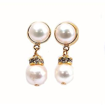 Toc Gold Plated Cream Bleached Freshwater Cultured Pearl Drop Earring