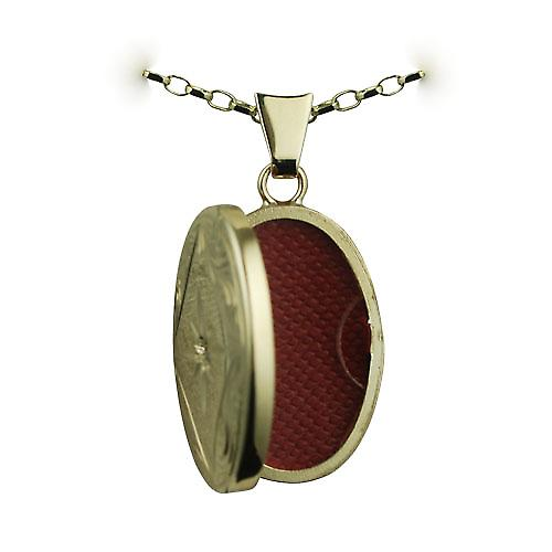 9ct Gold 22x15mm diamond set hand engraved edge oval Locket with a belcher Chain 16 inches Only Suitable for Children