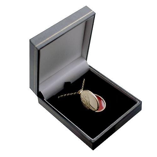 9ct Gold 26x19mm half hand engraved flat oval Locket with a belcher Chain 16 inches Only Suitable for Children