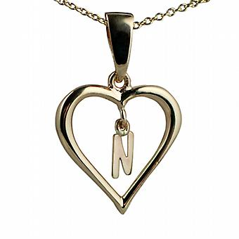 9ct Gold 18x18mm initial N in a heart Pendant with a cable Chain 20 inches