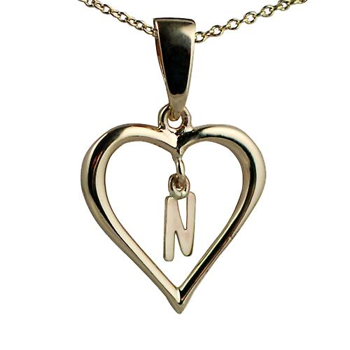 9ct Gold 18x18mm initial N in a heart with Cable link chain