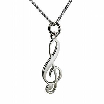 Silver 28x11mm G Clef Pendant with a curb Chain 24 inches