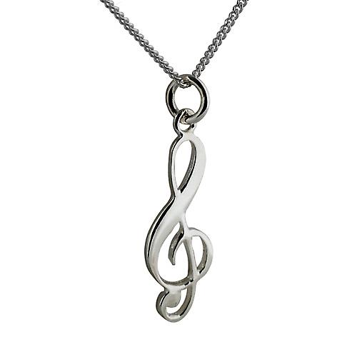 Silver 28x11mm G Clef Pendant with a curb Chain 18 inches